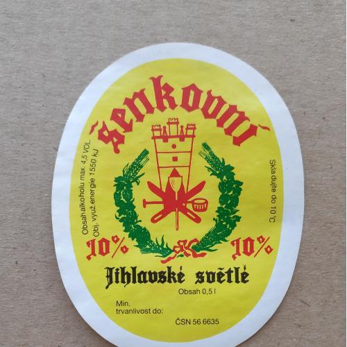 Этикетка пивная Šenkovní jihlavské světlé. Чехия.
