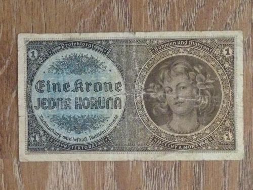Банкнота 1 крона Чехословакия (Протекторат Богемия и Моравия).