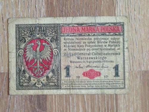Банкнота 1 польская марка  Польша 1917.