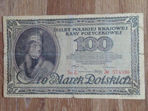 Банкнота 100 польских марок  Польша 1919.