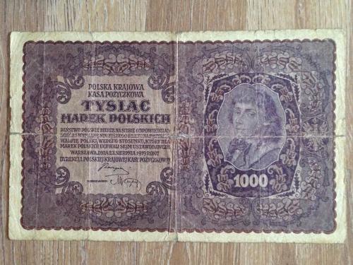 Банкнота 1000 польских марок  Польша 1919.