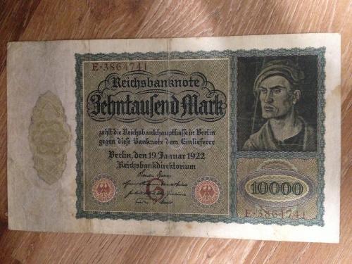 Банкнота 10000 марок Германия 1922.