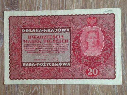 Банкнота 20 польских марок  Польша 1919.