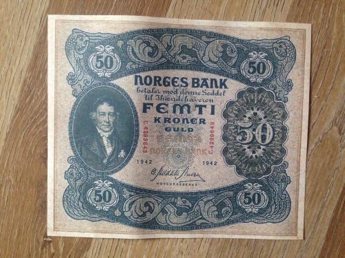 Банкнота 50 крон 1942г. Норвегия. (Репринт)