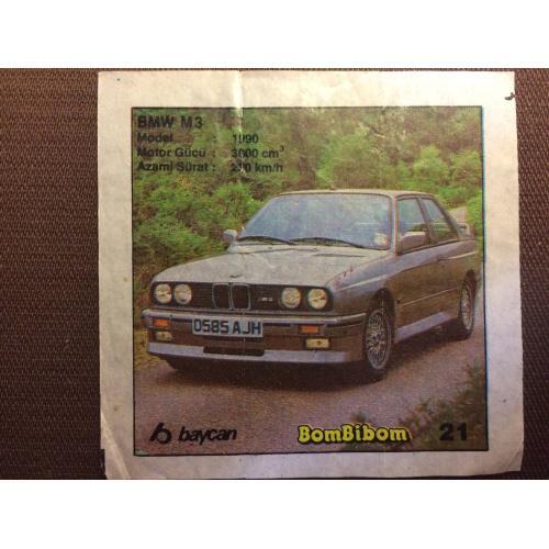 """Фантик, вкладыш от жвачки BomBibom """"BMW M3"""""""