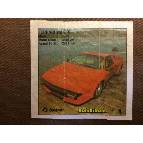 """Фантик, вкладыш от жвачки BomBibom """" FERRARI 328 GTB"""""""