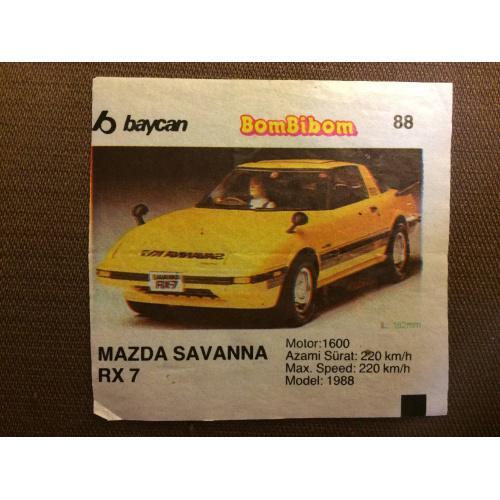 "Фантик, вкладыш от жвачки BomBibom ""MAZDA Savanna RX 7"""