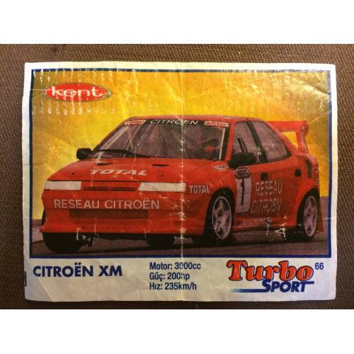 """Фантик, вкладыш от жвачки  Turbo Kent Sport """"CITROEN XM """""""