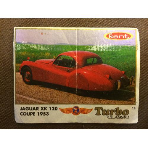 """Фантик, вкладыш от жвачки  Turbo Kent Classic  """"Jaguar xk 120 coepe 1953"""""""