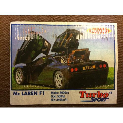 """Фантик, вкладыш от жвачки  Turbo Kent Sport  """"Mc Laren F1"""""""