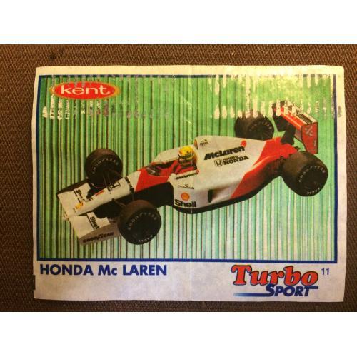 """Фантик, вкладыш от жвачки  Turbo Kent Sport """" HONDA Mc LAREN"""""""