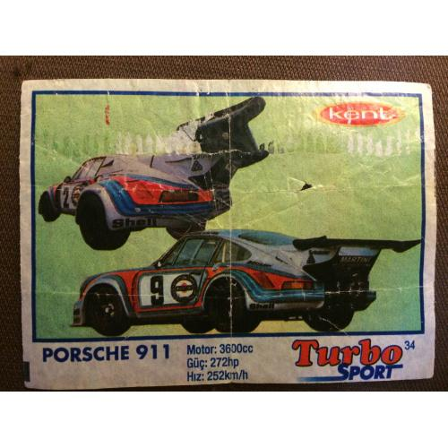 """Фантик, вкладыш от жвачки  Turbo Kent Sport  """"PORSHE 911"""""""