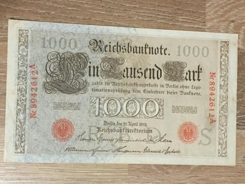 Купюра 1000. Германия 1910 г