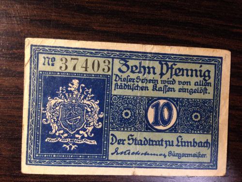 Нотгельд 10 пфенингов  - Германия. 1919 г.