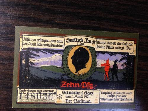 Нотгельд 10 пфенингов  - Германия. 1921 г.