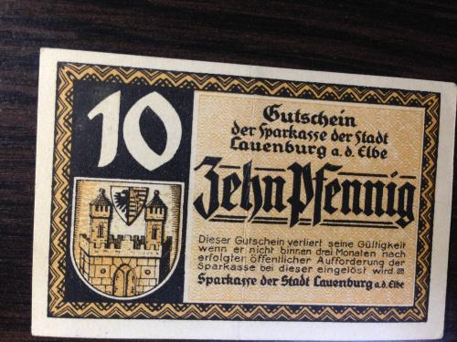 Нотгельд 10 пфенингов  - Германия.