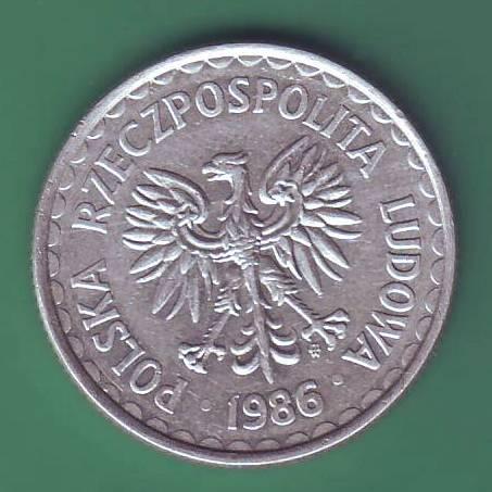 1 злотый   1986г .Польша.
