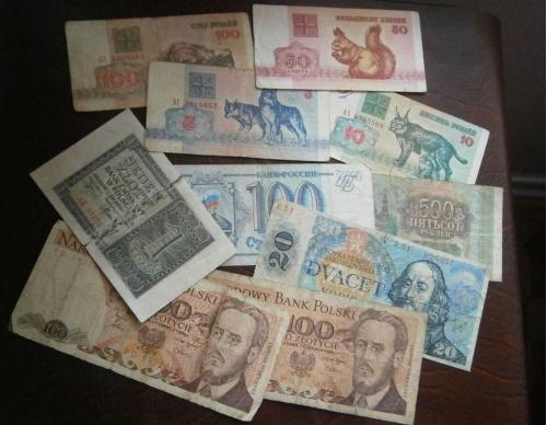 Лот 10 банкнот разных (Беларусь, Польша, Россия)