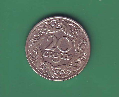 Монета 20 грош 1923г.Польша.
