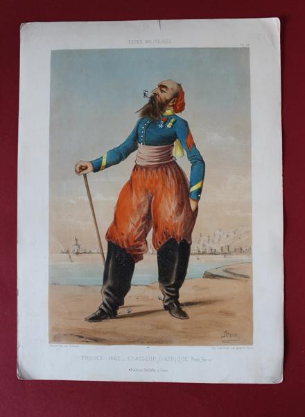 """Оригинальная литография 1871 худ. Дранер """"Военные типы"""""""