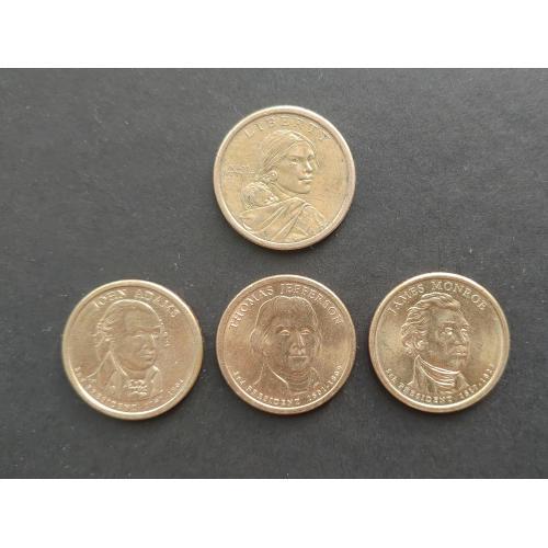 4 монеты доллары США