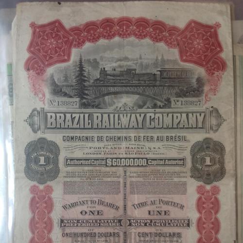 Акция Бразильской железнодорожной компании 1908 года. На сумму 100$