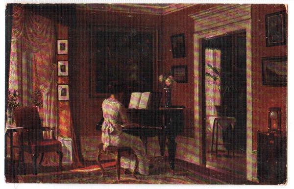Альфред Броже. Девушка играет на рояле