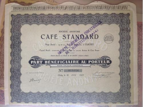 Французская акция кафе Стандарт 1927 год