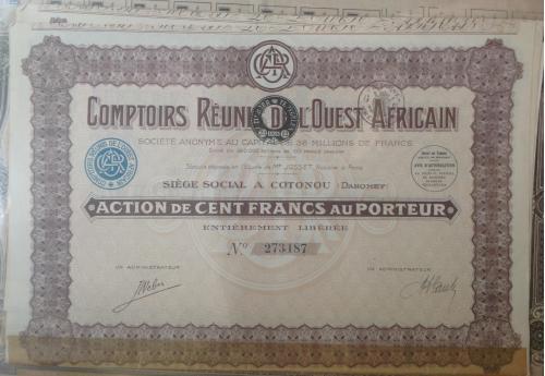 Французская компания в Африке. Акция на 100 франков с купонами.  1929год
