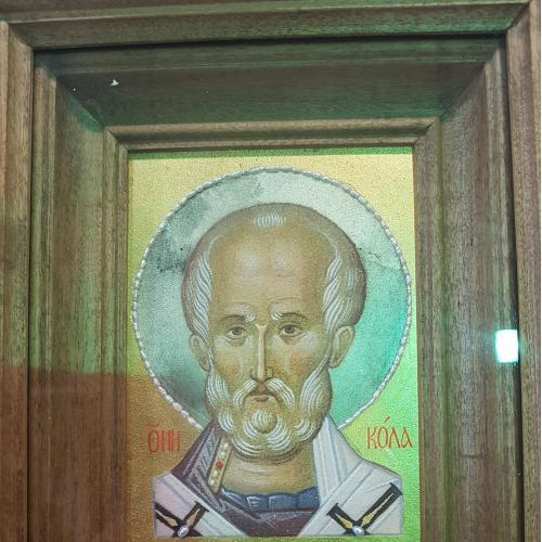 Икона Николай Чудотворец,  писаная на мраморе, киот