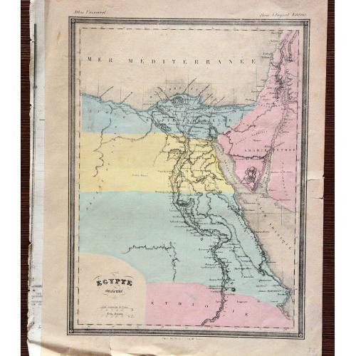 Карта Древний Египет из Атласа мира издание 1877 года Париж А Фаярд