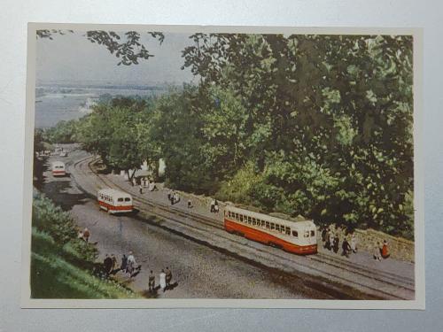 Київ Володимирський спуск. 1959 рік Трамвай, автобус