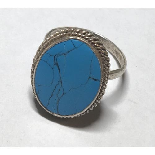Кольцо серебро 925,натуральный камень-бирюза с трещиной