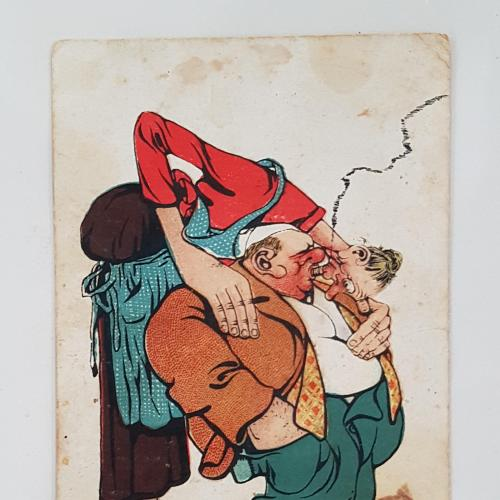 Старинная открытка 1913 г. Парочка курит марихуану.