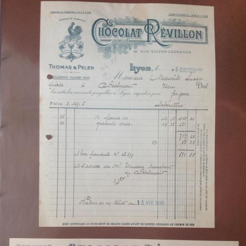 Квитанция и чек французской шоколадной компании 1930 год.