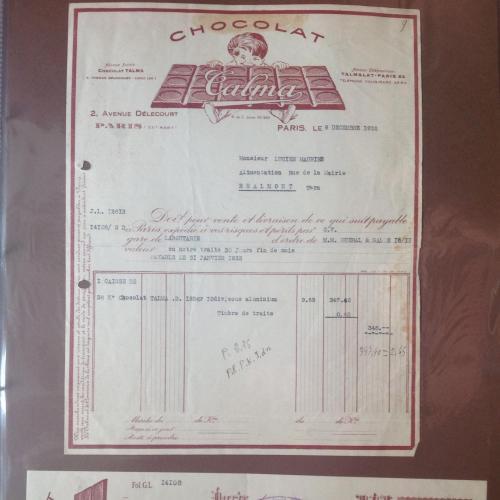 Квитанция и чек французской шоколадной компании 1938 год.