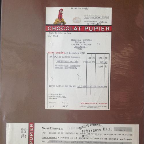 Квитанция и чек французской шоколадной компании 1943 год.