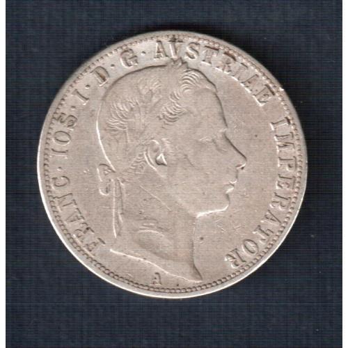 Монета 1 флорин, 1860 год, Австрия  серебро 0,900