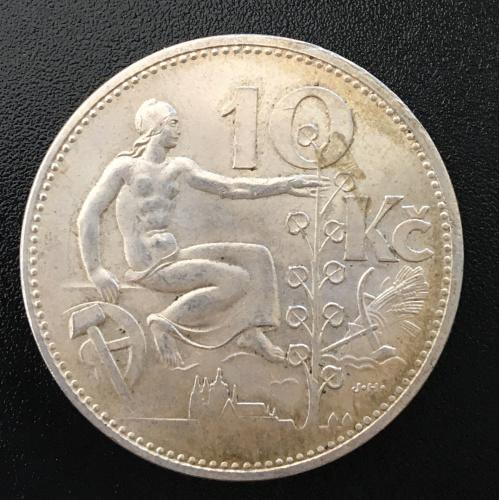 Монета 10 крон 1930 год серебро Чехословакия