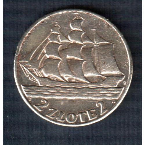 Монета 2 злотых 1936 год. 15-летие Гданьского морского порта. Кораблик. Серебро