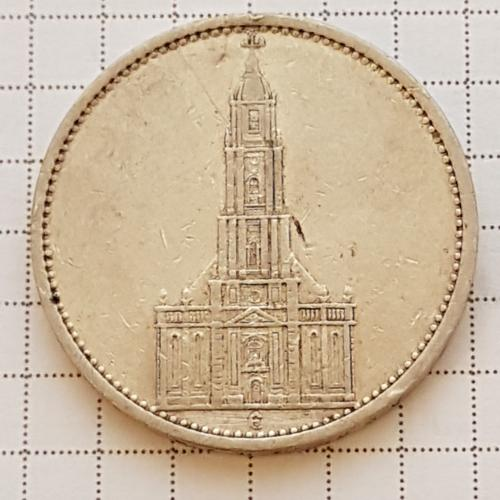 Монета 5 марок 1934 рік Є, Костел, срібло