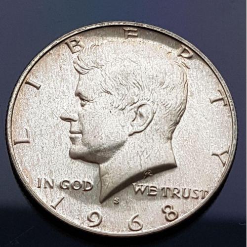 """Монета 50 центов 1968 год """"S"""" серебро монета из набора"""