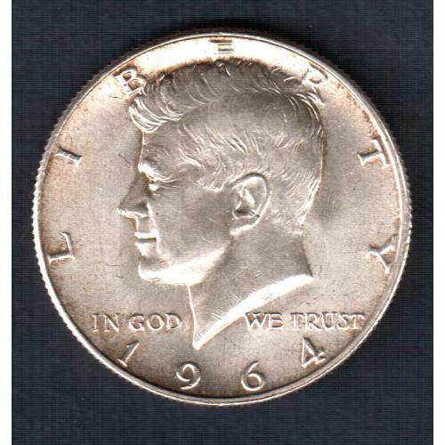 Монета 50 центов, пол доллара США Кеннеди 1964 год, серебро 0,900 Ag