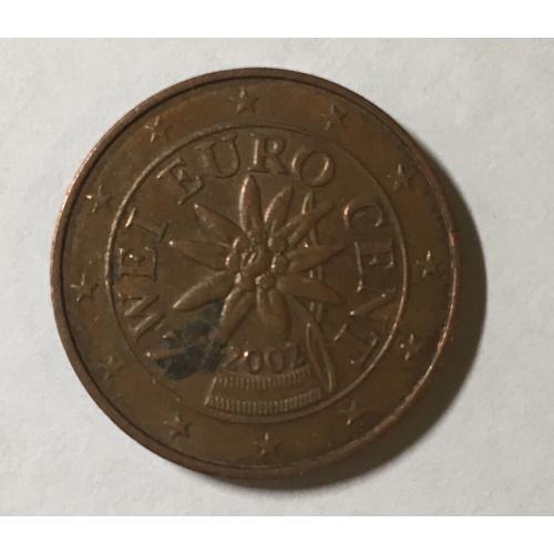 Монета Австрия 2 евроцента, 2002 год