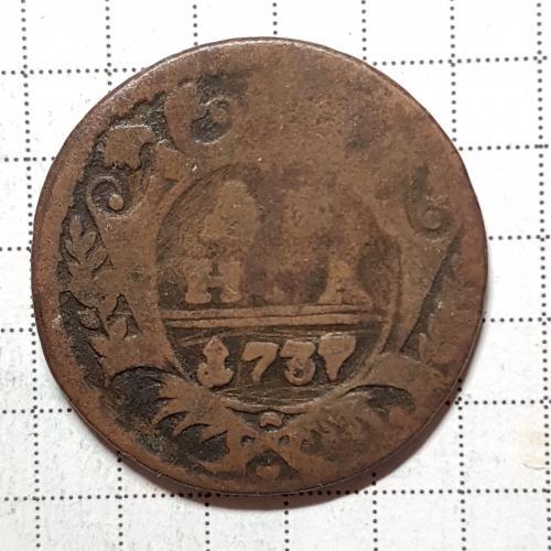 Монета денга 1737 год вес 7,5 гр.