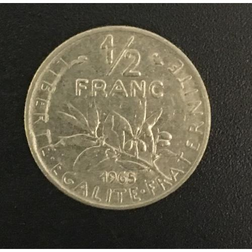 Монета Франция 1/2 франка, 1965