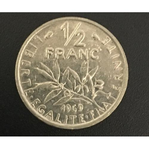 Монета Франция 1/2 франка, 1969