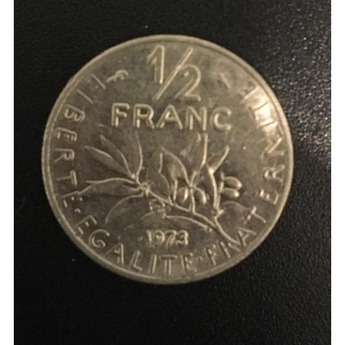 Монета Франция 1/2 франка, 1973