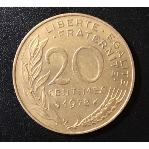 Монета Франция 20 сантимов,1978