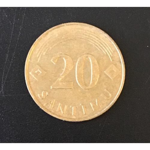 Монета Латвия 20 сантимов, 1992.2